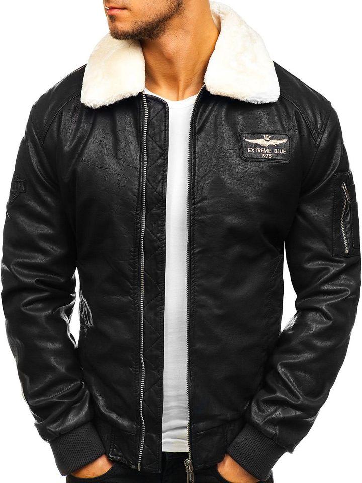 Чоловіча шкіряна куртка пілот чорна Bolf EX837 25e1a81c17cc3