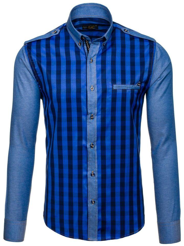 Темно-синя чоловіча сорочка в клітину з довгим рукавом Bolf 7704 ... 64dfd7fccd175