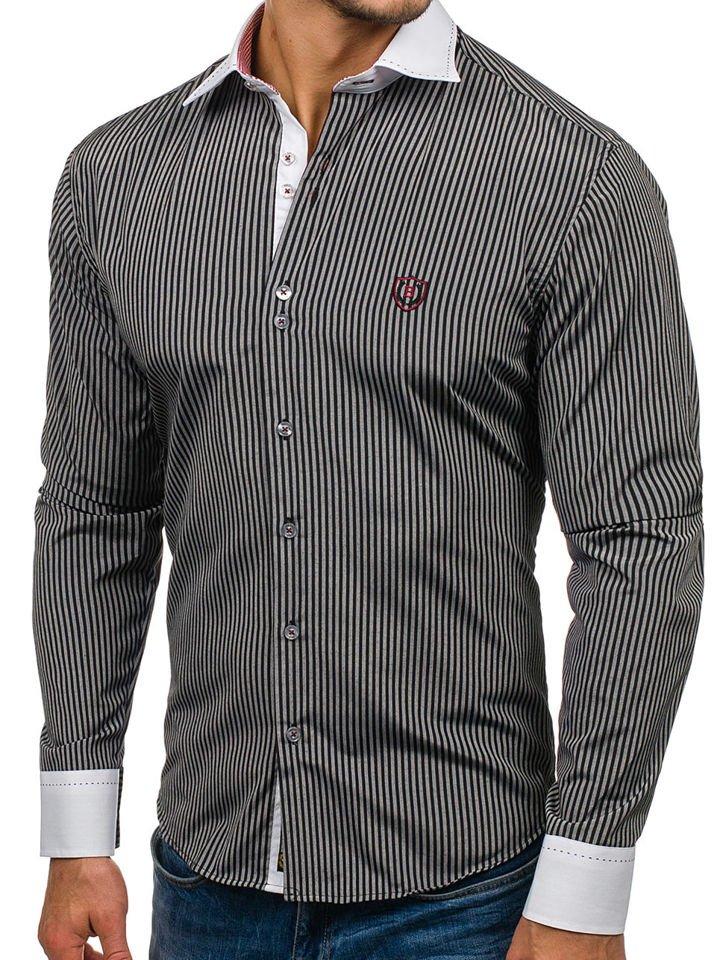 ... Черная мужская элегантная рубашка в полоску с длинным рукавом Bolf 4784  ... a29862b5b4d