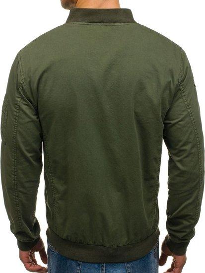 Мужская демисезонная куртка бомберка зеленая Bolf 5162