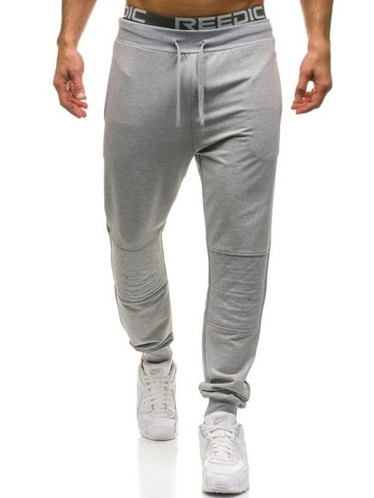Мужские трикотажные брюки джоггеры серые Bolf W2667