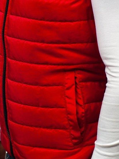 Мужская стеганая безрукавка с капюшоном красная Bolf AK88