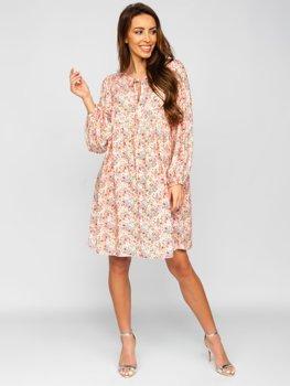 Бежевое платье женское в цветочек Bolf 3019