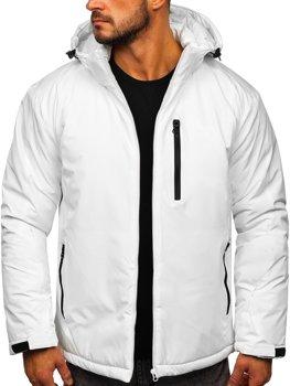 Белая мужская зимняя спортивная лыжная куртка Bolf HH011