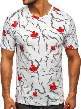 Белая мужская футболка с принтом Bolf 14905