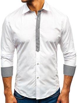 Белая мужская элегантная рубашка с длинным рукавом Bolf 0939
