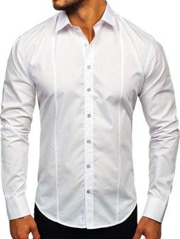 Белая мужская элегантная рубашка с длинным рукавом Bolf 4705G