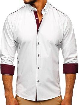 Бело-бордовая элегантная мужская рубашка с длинным рукавом Bolf 5722-1