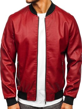 Бордовая кожаная куртка-бомбер мужская Bolf 1147