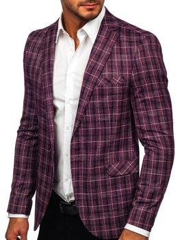 Бордовый мужской повседневный пиджак Bolf 8080
