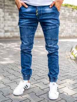 Брюки  джоггеры джинсовые мужские темно-синие Bolf KA755