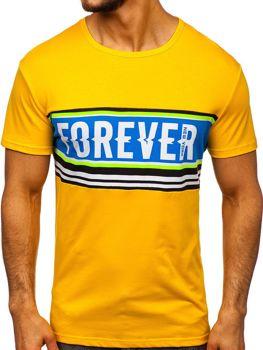 Желтая мужская футболка с принтом Bolf SS11097