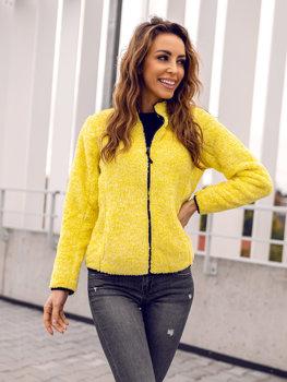 Желтая флисовая женская толстовка без капюшона Bolf HH009