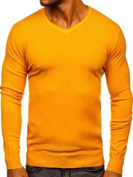 Желтый мужской свитер с V-образным вырезом Bolf YY03