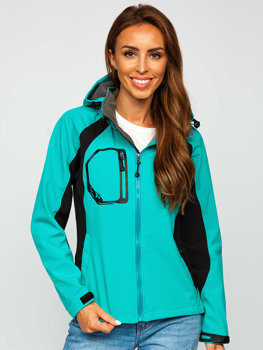 Женская демисезонная куртка софтшелл мятная Bolf 9055