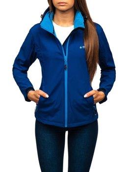 Женская демисезонная куртка софтшелл темно-синяя Bolf AB056