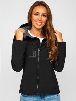 Женская демисезонная куртка софтшелл черная Bolf 9055