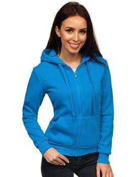 Женская толстовка с капюшоном светло-голубая Bolf WB1005
