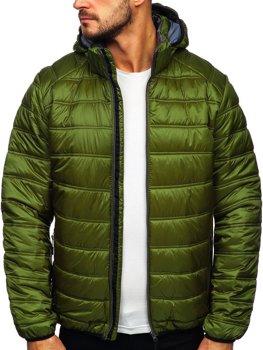Зеленая стеганая зимняя мужская спортивная куртка Bolf BK111