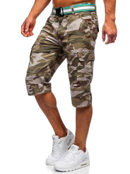 Зеленые мужские шорты-карго камуфляж с поясом Bolf AR5906