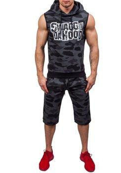 Камуфляж-антрацитовый мужской спортивный костюм Bolf 0478-1