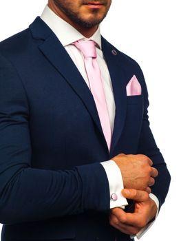 Комплект мужской галстук, запонки, платок-паше розовый Bolf KSP01