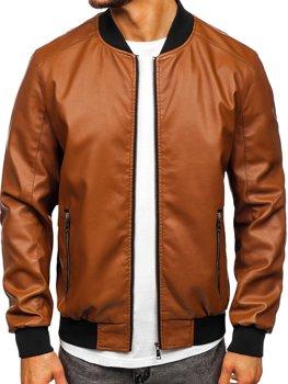 Коричневая кожаная куртка-бомбер мужская Bolf 1147