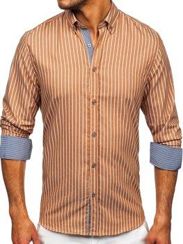 Коричневая мужская рубашка в полоску с длинным рукавом Bolf 20731