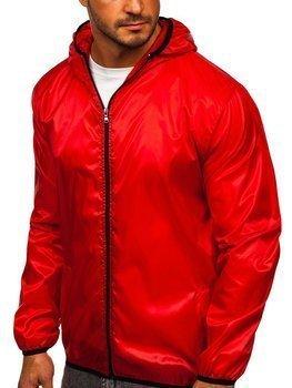 Красная мужская демисезонная куртка с капюшоном ветровка BOLF 5060