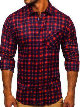 Красная мужская фланелевая рубашка с длинным рукавом Bolf F9