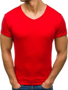 Красная мужская футболка без принта с v-образным вырезом Bolf 2007