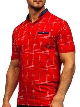 Красная мужская футболка поло с принтом Bolf 192232