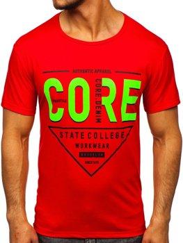 Красная мужская футболка с принтом Bolf KS2098