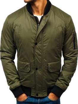Куртка мужская демисезонная бомбер зеленая Bolf 1769