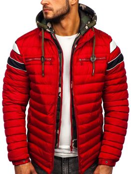 Куртка мужская зимняя спортивная стеганая красная Bolf 50A465