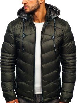 Куртка мужская зимняя спортивная стеганая хаки Bolf 50A223