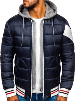 Куртка мужская зимняя спортивная темно-синяя Bolf JK395