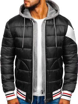 Куртка мужская зимняя спортивная черная Bolf JK395
