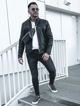 Куртка мужская кожаная утепленная черная Bolf 92530