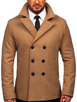Кэмел двубортное мужское зимнее пальто с высоким воротником Bolf 8801