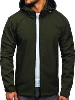 Мужская демисезонная куртка софтшелл зеленая Bolf 56008
