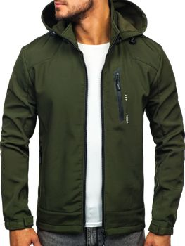Мужская демисезонная куртка софтшелл зеленая Bolf KM82626