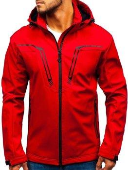 Мужская демисезонная куртка софтшелл красная Bolf 5427