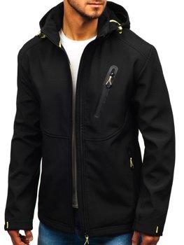 Мужская демисезонная куртка софтшелл черная Bolf 5425