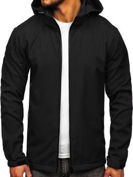 Мужская демисезонная куртка софтшелл черная Bolf 56008