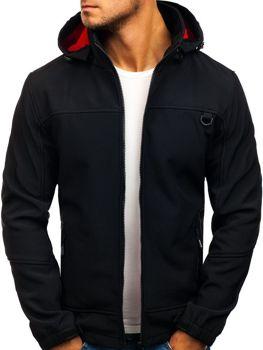 Мужская демисезонная куртка софтшелл черная Bolf 82648
