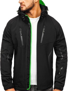 Мужская демисезонная куртка софтшелл черно-зеленая Bolf 5612