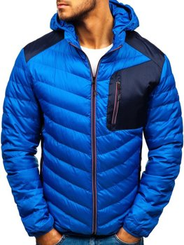 Мужская демисезонная спортивная куртка синяя Bolf 1901