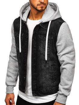 Мужская джинсовая куртка с капюшоном черная Bolf 211902