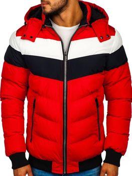 Мужская зимняя куртка красная Bolf 5808